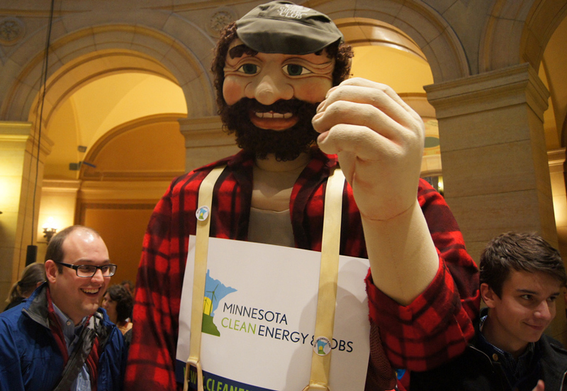 Paul Bunyan puppet makes an appearance at the Blue Green Alliance's event at the state capital.