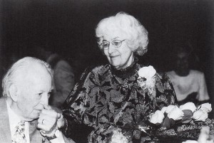 More than six hundred friends helped Elmer celebrate his ninetieth birthday on June 26, 1999. After Tom Swain's tribute to Eleanor, she stood to acknowledge the crowd's applause and her husband's kiss.