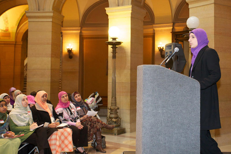Lori Saroya speaks at the annual Muslim Day at the state capitol.
