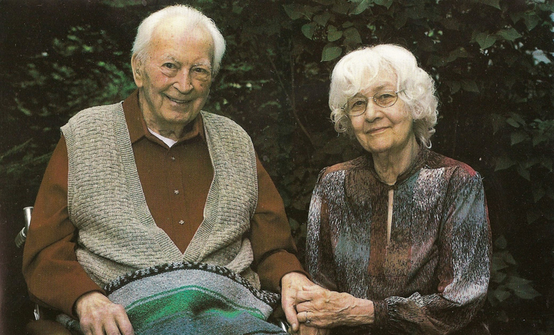 In the Summer of 2000, Elmer and Eleanor Andersen sit together and relax at Deer Lake.